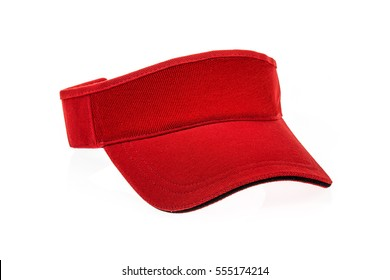 Red golf visor for man or woman on white background