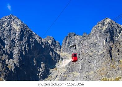Red gondola to Lomnica peak in High Tatra Mountains, Slovakia