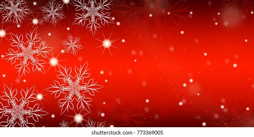 Red gradient background with snowflakes, banner.