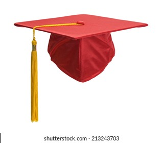Red Graduation Hat with Gold Tassel Isolated on White Background.