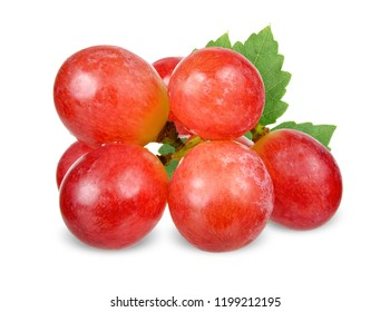 Red grape isolated on white clipping path.