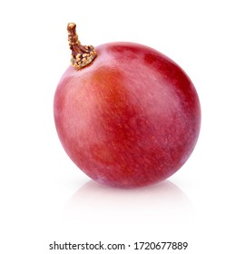 Red grape isolated on a white background with clipping path. one berry closeup with shadow.