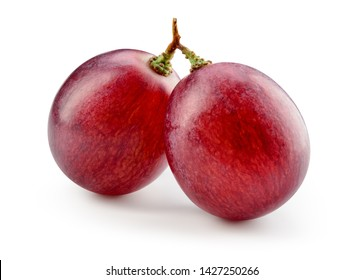 Red grape. Two grape berries isolated. Grapes on white. Macro. With clipping path. Full depth of field.