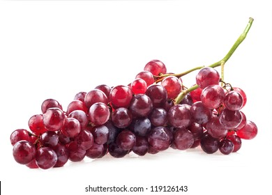 Red grape with water drops, closeup, isolated on white background