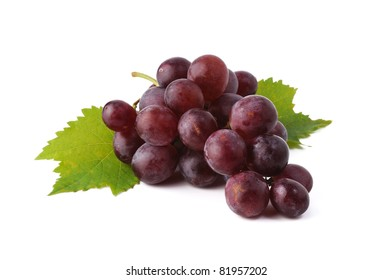 Red grape whith leaf isolated on white background