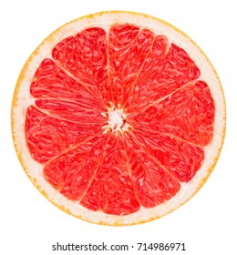 red grapefruit slice, clipping path, isolated on a white background