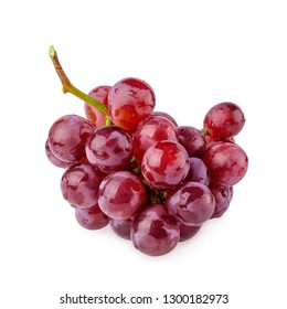 Red Grapes isolated over the white background.