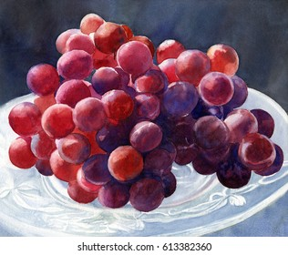 Red Grapes on a Plate with Dark Background.  Watercolor painting of bright red violet grapes on a crystal plate with dark background of blue and blue gray