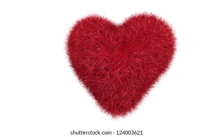 Red grass heart isolated on white