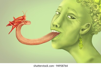 the red grasshopper on the green woman's tongue