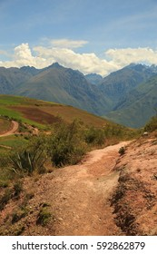 A red gravel road in the Sacred Valley in Peru
