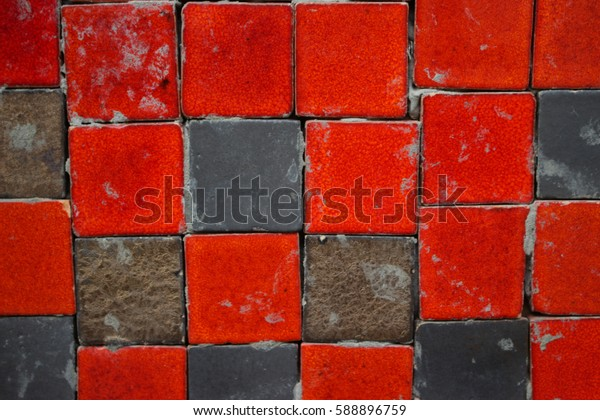 Red and gray ceramic tiles square shape on the wall