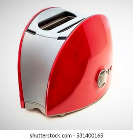 Red gray toaster for bread isolated on white background, Kitchen equipment