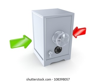 Red and green arrow and iron safe.Isolated on white background.3d rendered.