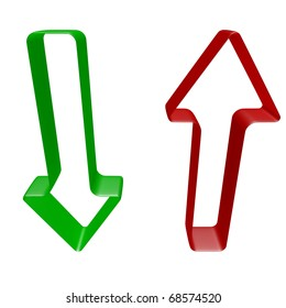 red and green arrows (upload download) - isolated
