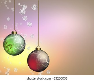 Red and Green baubles on colorful snowflake background.