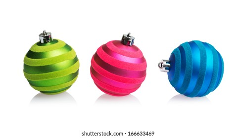 red, green and blue Christmas balls isolated on white background