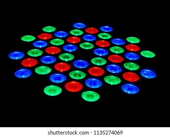 Red Green and Blue LED Lamps on Black Background