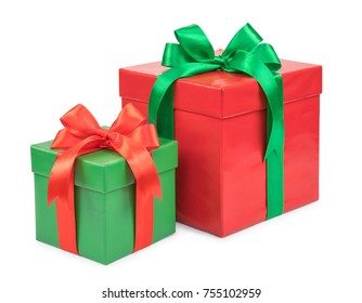 red and green box with bows isolated on white background.