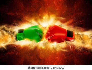 Red and green boxing glove surprise