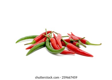 Red and green chili peppers.