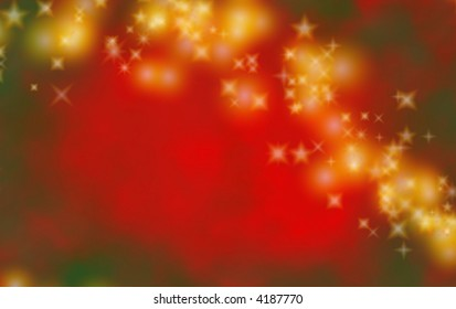Red and green Christmas background or backdrop with gold stars.