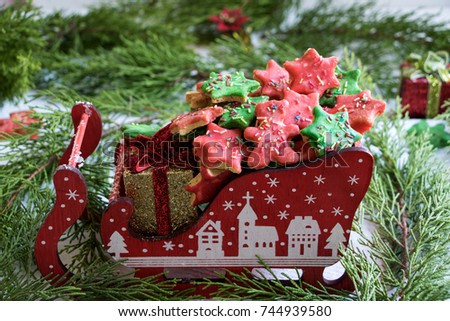 Red Green Christmas Cookies Stock Photo Edit Now 744939580