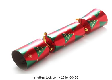 Red And Green Christmas Cracker Isolated On White