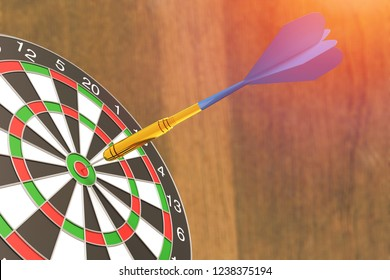 Red and green Dartboard winner success for investment, Right on target concept using dart in the bulls eye on dartboard business success concept on wooden background