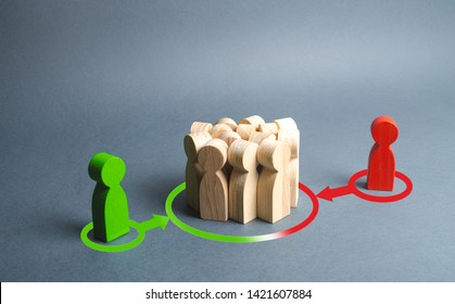 red and green figures of people influence the crowd. Pressure, influence on public opinion, communicating, point of view, mind control. Control media, election campaign, debate. change to their side