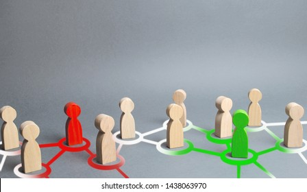 red and green figures of people influence on their surroundings people through communication and social networks. Pressure, influence on public opinion, communicating, point of view, mind control.