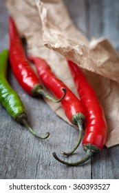 Red and green fresh chili pepper,shallow depth of field