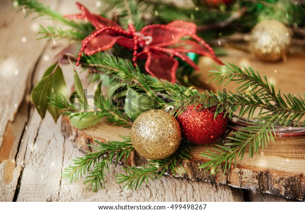 Red Green Gold Christmas Balls Decorations Stock Photo Edit Now