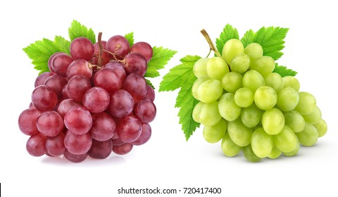 Red and green grape with leaves isolated on white background with clipping path. Studio shot. Collection