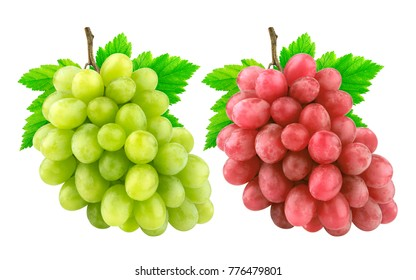 Red and green grape with leaves isolated on white background. Collection