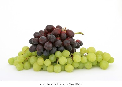 Red and green grapes, isolated on white, copy space