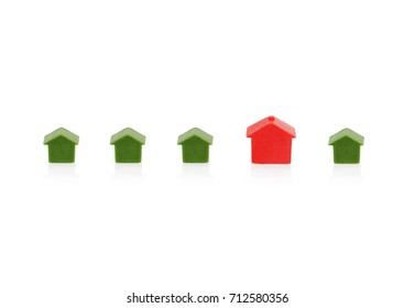Red and green houses isolated on white background