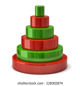 Red and green layer pyramid