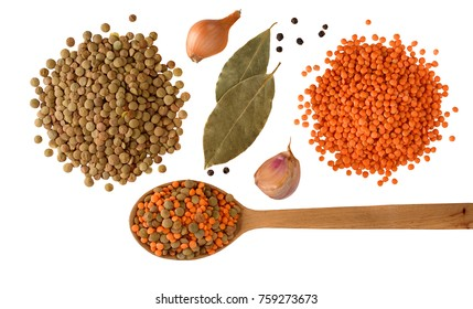 Red and green Lentils with onion, garlic and spices with wooden spoon isolated on white background. Healthy lifestyle. Lentil soup ingredients . Flat lay. Top view.