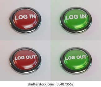 red green log in log out button