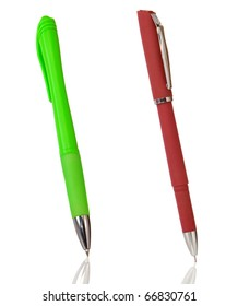 red and green pens isolated on white background