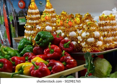 Red and green peppers with festival decorations, Ben Thanh market, Saigon (Ho Chi Minh City), Vietnam