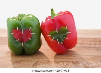 Red and Green Peppers with Hearts