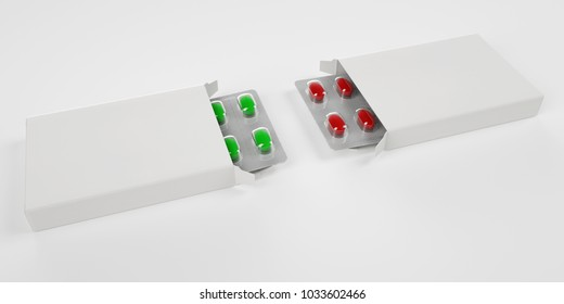 Red and green Pills with box and blister 3d rendering