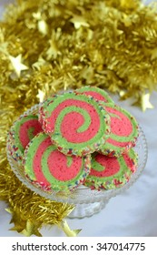 Red and Green Pinwheel Christmas Cookie background