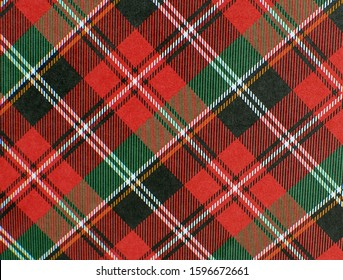 Red and green plaid background with black, white and yellow