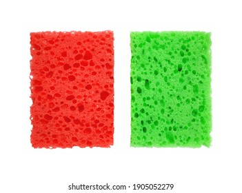 Red and green rectangular porous washing sponges isolated on a white background