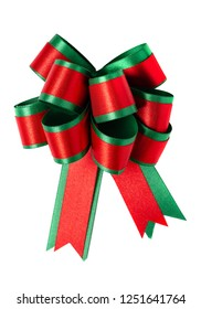 red and green satin ribbon bow chirstmas giftbox isolated on white background