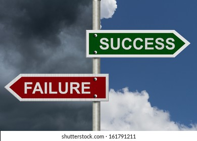 Red and green street signs with blue and stormy sky with words Success and Failure, Success versus Failure