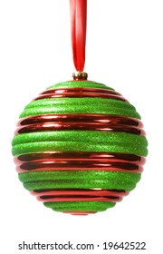 Red and green striped Christmas ornament hanging from red ribbon, isolated on white background (with clipping path).